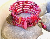 Boho Style Ruby Red and Antique Brass Multi Wrap Memory Wire Bracelet