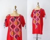 SALE 1970s Embroidered Dress / 70s Cross Stitch Red Cotton Mini Dress