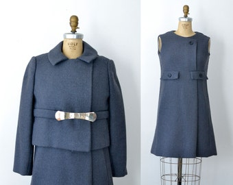 1960s Mod Dress & Jacket / 60s Gray Wool Suit