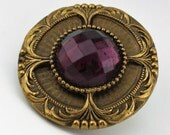 Vintage Victorian Jeweled Coat Button, Loop Shank, 36mm, 1pc