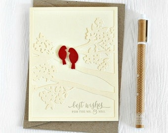 Elegant wedding card // handmade greeting card // lovebirds // for the newlyweds // mr & mrs