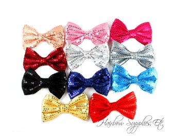 Sequin Basic Bows - 4 inch - Sequin Bow, Sequin Bow Headband, Sequin Bow Tie, Sequin Bowtie, Sequin Bows, Sequin Hair Bow, Bow Tie, Bowtie