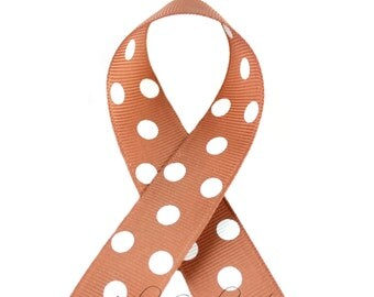 Pecan Polka Dots 3/8 inch Polka Dot Grosgrain Ribbon - Polka Dot Ribbon, Polka Dot Hair Bow, Polka Dot Bow, Ribbon By The Yard