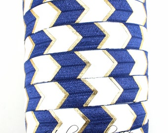 Blue Gold Arrow Fold Over Elastic - Fold Over Elastic, Hair Elastic Bracelet, Elastic, Hair Elastic Ties, Elastic Ribbon, Elastic Hair Bands