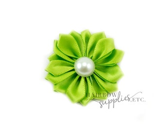 Lime Dainty Star Flowers with Pearl 1-1/2 inch - Lime Fabric Flowers, Lime Silk Flowers, Lime Hair Flowers, Lime Flowers for Hair