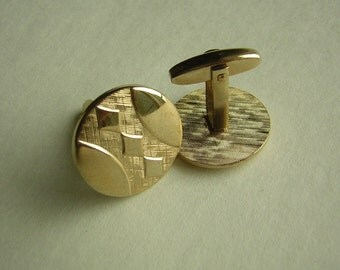 Vintage FOSTER Cufflinks Set Big Round and Smart 1950s Gold Tone - Affordable Gifts for Him