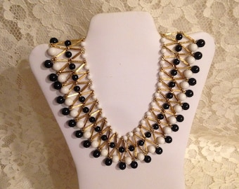 MAGNIFICENT VENDOME BIB Necklace - Black & White with Goldtone  - One Gorgeous Necklace