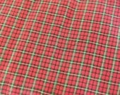 Traditional plaid Christmas mytar red green gold metallic holiday apparel fabric - BTY