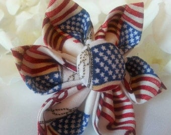 Dog Collar Flower - Any Size - Independence Day Flags - 4th of July