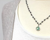 Hand-knotted Blue Freshwater Pearl Necklace with Sparkling Ocean Blue Glass Pendant in Silver.