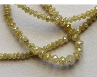 55% ON SALE 2 Beads Yellow Sparkling Diamonds VIC18 - Faceted Diamond Beads - Conflict Free Diamonds Rough Diamonds - Approx 3mm Each