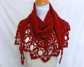 red shawl merino silk lacy and warm