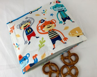 Reusable Snack Bag - Reusable Baggie - Monkey Snack Bag - Fabric Snack Bag - Reusable Fabric Snack Bag - Monkey Moves Blue