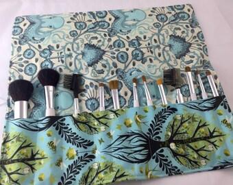 Blue Makeup Brush Roll - Makeup Brush Organizer - Make Up Brush Holder - Makeup Brush Case - Tula Pink Tree of Life in Pool Blue