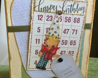 Happy birthday card handmade shabby chic retro cute