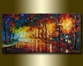 Landscape Painting Oil on Canvas Rainy Night Textured Palette Knife Contemporary Original Modern Art 20X40 by Willson Lau