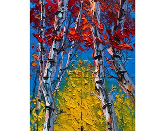 Autumn Birch Landscape Painting Oil on Canvas Textured Palette Knife Modern Original Tree Art 8X10 by Willson Lau