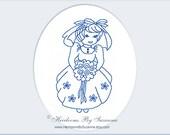 Vintage Bride with Bouquet - Machine Redwork Embroidery - Bluework - Bridal Design - Vintage Design - INSTANT download - 3 Sizes