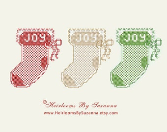 Christmas Stocking - Machine Embroidery Pattern - Machine Cross Stitch Design - INSTANT Download - Winter Holiday - 4 x 4 Design
