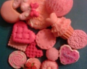 "Sale--Kawaii pink sweets cabochon deco diy decoden phone charm mix    "" 329 ""  15 pcs  USA seller"