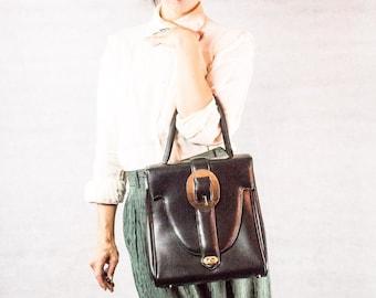 60s Black Vinyl Buckle Tote/ Handbag