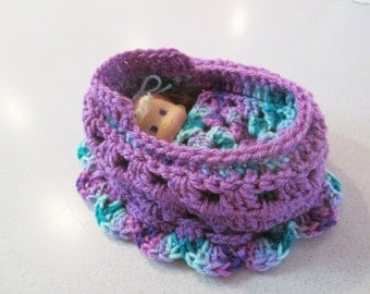 Cradle purse with doll, crochet purse, quiet toy, great for church