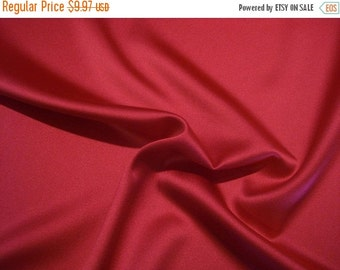 ON SALE SPECIAL--Rich Cherry Red Lightweight Stretch Polyester Satin Fabric--One Yard