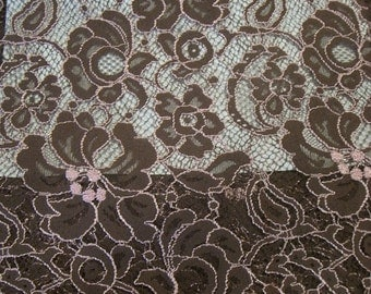 ON SALE Chocloate Brown and Pink Chantilly Lace Fabric--One Yard