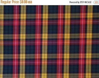 ON SALE Classic Red Hunter Green and Black Tartan Plaid Fine Twill Cotton Shirting Fabric--One Yard