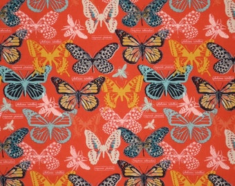 Beautiful Butterflies on Coral Red Print Pure Cotton Fabric--One Yard