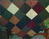 "Quilted Table Topper ~ 28"" square ~ Mini Quilt ~ Patchwork ~ Reversible ~ Table Quilt ~ Wall Hanging ~ Rustic ~ Colonial"