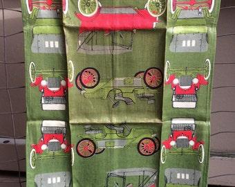 Vintage Cars Linen Tea Towel in Dark Green by Vera - retro tea towel, vintage kitchen towel, classic car kitchen towel, 1960s kitchen decor