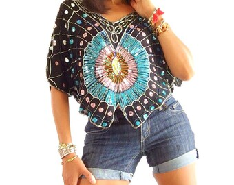 Fabulous 80's sequined Top - multicolor vintage top - Batwing sequin top - party beaded top - multicolor 80's top - butterfly sequined top