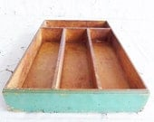 Old Primitive Green Wooden Utensil Cutlery Tray Box