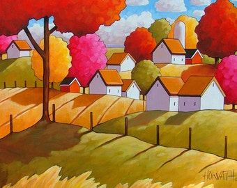 Country Fields Farm Cottage Charm, Wall Art Gift, Colorful Autumn Trees Rural Landscape, Fall Artwork 5x7 Folk Art Print by Cathy Horvath