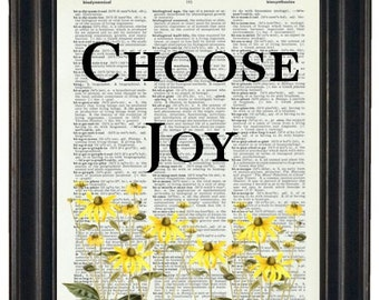 BOGO SALE Choose Joy Dictionary Art Book Page A HHP Original Quote Prints Sayings Wall Art