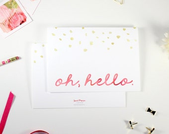 Stationery Oh Hello Pink Gold // Champagne Dots Set of 8 Folded Cards