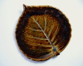 Rich Amber Brown Pottery Leaf Spoon Rest