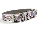 Dog Collar with Metal Buckle-Pink and Grey Chevron Stripe