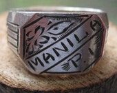 Vintage Sterling Silver Manila PI WWII Trench Art Ring Men's Collectable Size Size 11 Amazing Condition