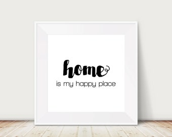 Custom Colors | Home Is My Happy Place | Nursery Art | Wall Art | Subway Art | Home Decor | Gift | Wall Decor | 4x4 | 6x6 | 8x8 | 10x10