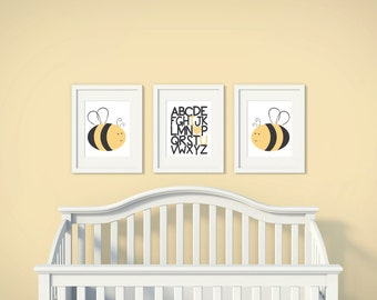 Boys or Girls Nursery Set | Bumble Bee | Alphabet Love | Set of 3 | Nursery Art | Wall Art | Nursery Decor | 5x7 | 8x10 | 11x14