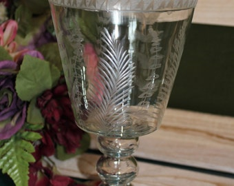 Etched Glass Candle Holder