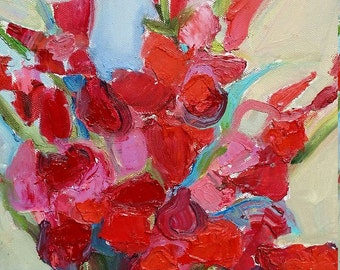 Gladiolas flowers oil painting- original modern oil art on canvas - 12 X 12 inches- not framed