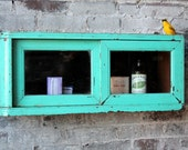 Vintage Emerald Green Distressed Warm Industrial Bohemian Apothecary Glass Small Cabinet Bathroom Cabinet Spice Cabinet hanging Cabinet
