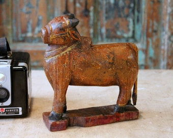 Nandi Cow Hand Carved Vintage Indian Religious Artifact Cow Sculpture Rajasthan Folk Art Cow Art Photo Prop