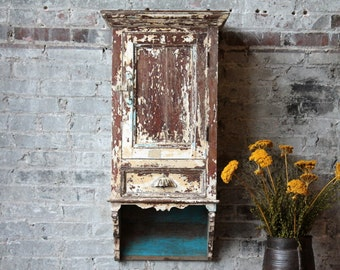 Large Hanging Cabinet Boho Wood Reclaimed Bathroom Cabinet Kitchen Cabinet Spice Rack Indian Furniture Distressed White Cottage Chic