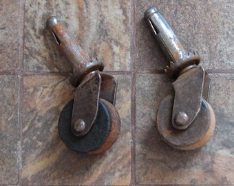2 Antique Vintage Small Wood Wooden Wheels Altered Art Mixed Media Assemblage Craft Restoration Supplies