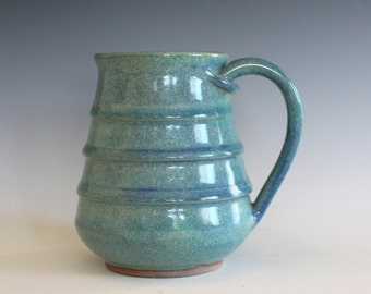 Pottery Mug, 17 oz, unique coffee mug, ceramic cup, handthrown mug, stoneware mug, wheel thrown pottery mug, ceramics and pottery