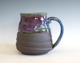 Pottery Mug, 18 oz, ceramic cup, handthrown mug, stoneware mug, pottery mug, unique coffee mug, ceramics and pottery